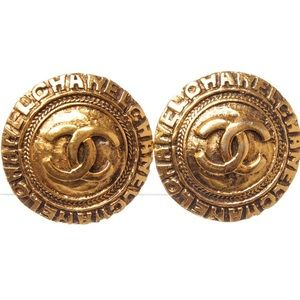 CHANEL CC Round Disk Logo Vintage Clip On Earrings